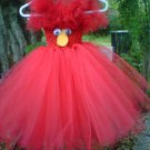 HANDMADE INSPIRED ELMO TUTU DRESS///SHOULDER STRAPS SNAPS ON/ OFF   SIZE 6MONTHS TO T0 6X GIRL