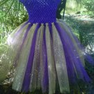 HANDMADE  BIRTHDAY GIRL  PURPLE / GLIMMER  GOLD TUTU DRESS SIZE 2 TODDLER TO 6X