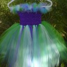 HANDMADE BIG LIL GIRL PEACOCK COLOR TUTU DRESS