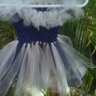 HANDMADE  NAVY BLUE/ SILVER   TUTU DRESS