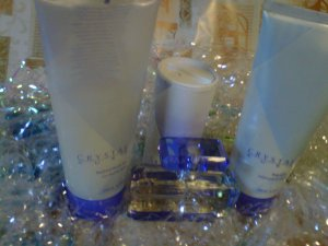 CRYSTAL  4 piece set powder, shower gel and lotion