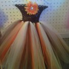 HANDMADE AUTUMN DIVA BROWN / ORANGE/ IVORY TUTU DRESS