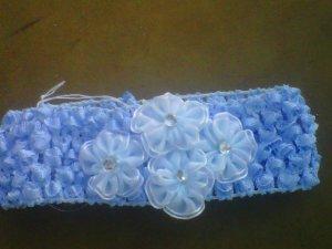 custom made headwraps in lt blue w/ lt blue flowers