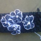 custom made headwraps in black w/ black/silver  flowers