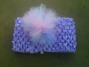 custom made headwraps in lavender w/  tulle flowers