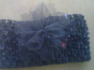 custom made headwraps in black  w/  tulle flowers