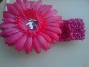 custom made fucshia flower headwrap