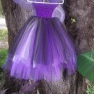 * ARTISAN handmade tutu dress purple/black /ivory with wing  HALLOWEEN