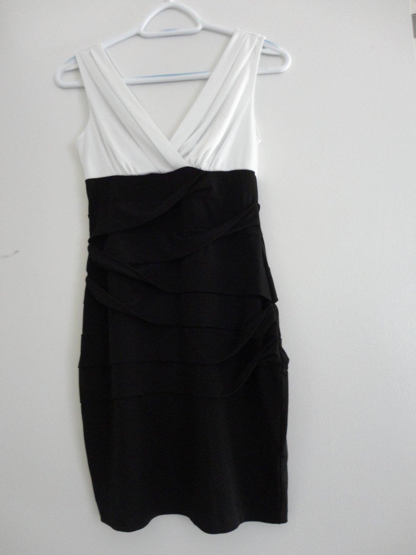 Sweet Storm-Black White Stretch Dress-Small Size