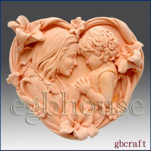 2D Silicone Soap Mold - Mother & Child in Heart