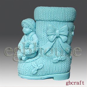 3D Silicone Soap & Candle Mold - Boy on Christmas Boot