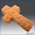 2D Silicone Soap Mold – Ornamental Rose Cross