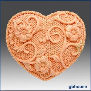 2D Crochet Heart - Silicone Soap Mold