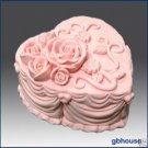 Silicone Soap/Candle Mold-Heart Shape Rose Wedding Cake