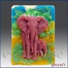 2D Silicone Soap Mold  - Fascinating Elephants