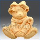 3D Silicone Soap / Candle Mold - Bear with Candy Cane