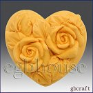 2D Silicone Guest Soap Push Mold-Mini Twin Roses Heart -2 cavities-free shipping