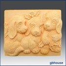Silicone Soap Mold - Trio of Puppies - Bar
