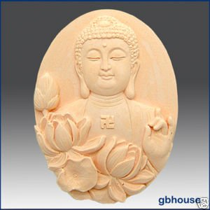 Silicone Soap Mold �Buddha with Lotus � Oval