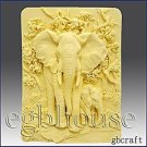 Fascinating Elephants -Detail of high relief sculpture - Soap silicone mold