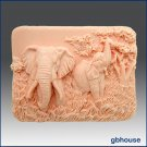 Enchanting Elephants -Detail of high relief sculpture - Soap silicone mold