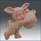 2D silicone Soap/polymer/clay mold- Kid dresses up in Bunny Costume holding egg