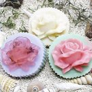 2D silicone Soap/polymer/clay/cold porcelain mold - Rose on Round Bar