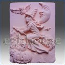 2D silicone Soap/polymer/clay/cold porcelain mold-Halloween Witch on Broom