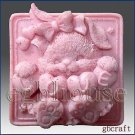 2D silicone Soap/Guest/polymer/clay/cold porcelain mold- Love Bunny