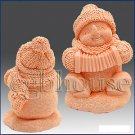 3D silicone Soap/polymer/clay/cold porcelain/candle mold – Musical Snowman