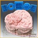 Silicone Soap/sugar/fondant/chocolat Mold-Heart Shape Rose Wedding Cake