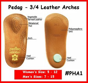 Ladys #39 Pedaq Arch Shoe Insole 3/4 Arches Leather TOP
