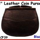 "CP39 BLACK 2 pocket 3"" Frame LEATHER Change PURSE COIN"