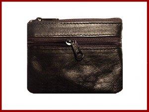 Black ~ 2 Zipper COIN PURSE ~  LEATHER ~ Coin wallet