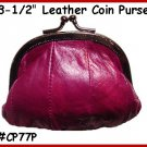 "Purple Metal 3-1/2"" Frame LEATHER Change PURSE COIN"
