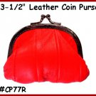 """RED Metal 3-1/2"""" Frame LEATHER Change PURSE COIN"""