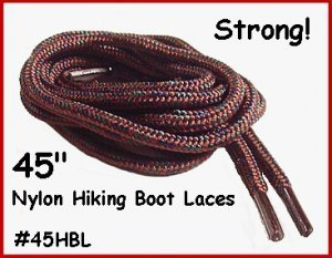 """2pr STRONG Brown Nylon 45"""" HIKING Boot Laces FREE SHIP!"""
