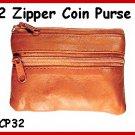 TAN ~ 2 Zipper COIN PURSE LEATHER ~ Coin wallet