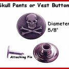 2 MOTORCYCLE Skull bib Buttons For Leather PANTS VEST