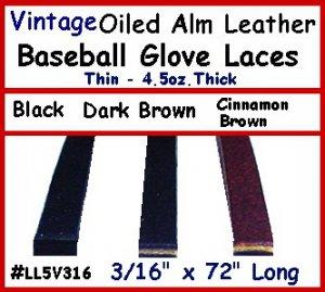 "(2) D.Brn Vintage BASEBALL GLOVE Leather lace 3/16""X72"""