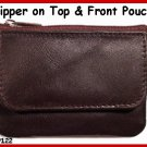 BROWN - Zipper top Credit Card flat leather Coin Purse