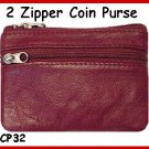 BURGUNDY ~ 2 Zipper COIN PURSE LEATHER ~ Coin wallet