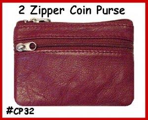 BURGUNDY ~ 2 Zipper COIN PURSE LEATHER ~ Coin wallet