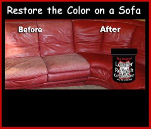 Autumn RED Cleaner, Applicator & LEATHER Refinish Aid RESTORERS Color to Sofas
