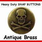 25 Antigue BRASS Skull Heads for Leather SNAP fastner