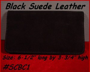 "Made in USA BLACK Suede Leather CHECK BOOK COVER ""Grips & stays in Your Pocket"""
