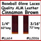 "2-1/4""x 60"" Alm Brn BASEBALL GLOVE Repair Leather lace"