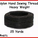 BLACK - Heavy Nylon, Hand Sewing Leather Thread