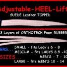 (1) MEDIUM LEATHER TOPPED Adjusting Heel Lift Shoe Pad