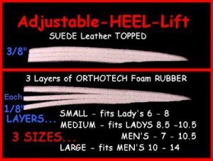 (2) LARGE LEATHER TOPPED Adjusting Heel Lift  Shoe Pad